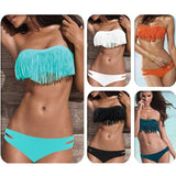Swimwear Women Padded Boho Fringe Bandeau Bikini Set New Swimsuit Lady Bathing suit