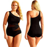 4XL Sexy Plus Size Swimwear Black Mesh monokini bikini One Piece Swimsuit Maternity See Through large size Swimwear For Women - Virtual Store USA