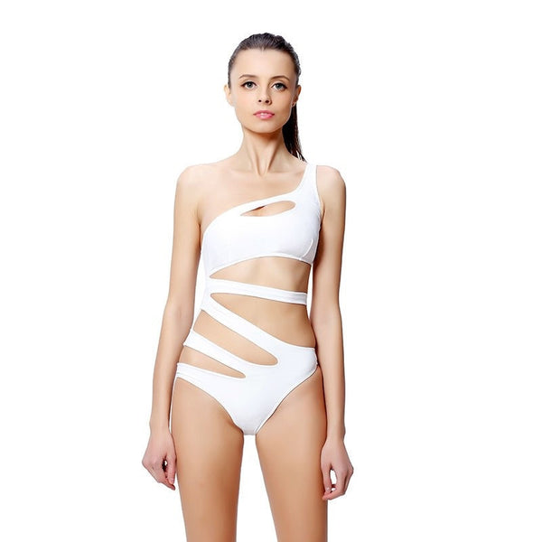 Sexy One Piece Swimsuit Bandage For Women Solid White and Blue One shoulder Cut