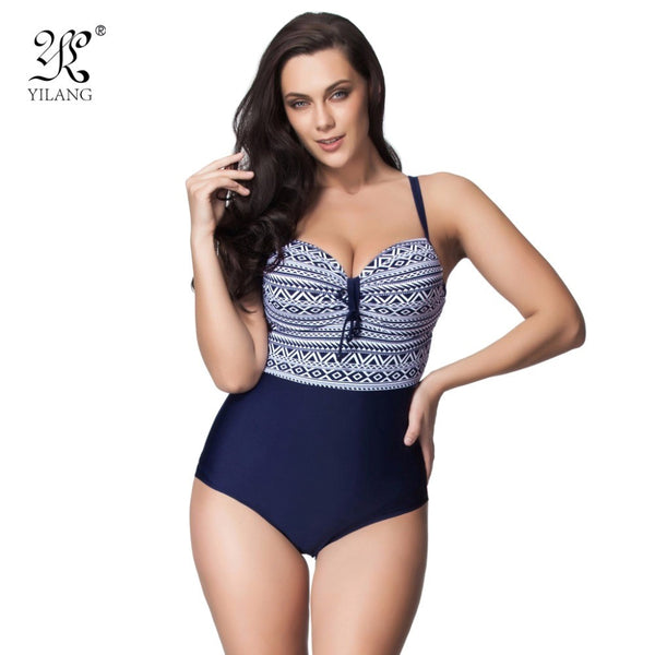 Sexy Geometric Print Women Swimwear Plus Size Swimsuit Vintage Retro One Piece B