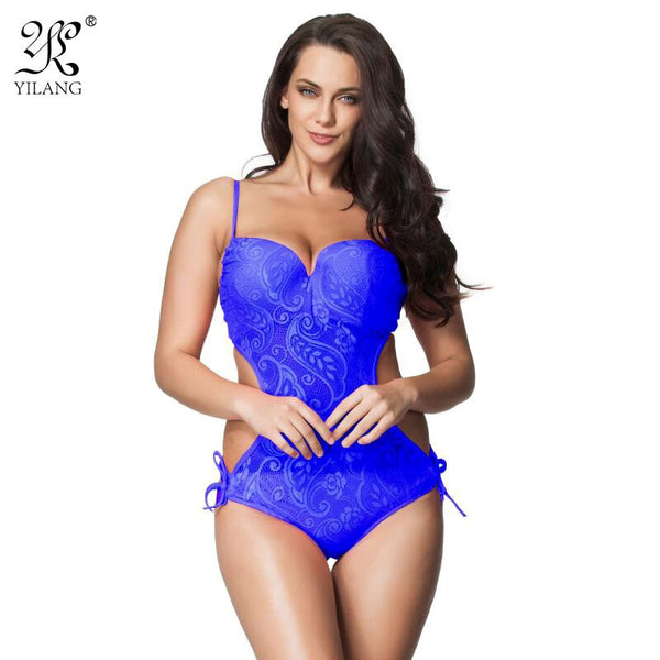 Sexy Push Up One Piece Trikini Swimsuit Monokini 2016 Plus Size Swimwear For Women Transparent Lace Swimming Suit Beach Wear