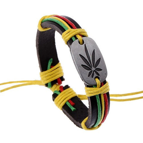 Classic Plant Leave Genuine Leather Bracelet Ladies Rainbow Color Hemp Rope Wrap Adjustable Bangles - Virtual Store USA