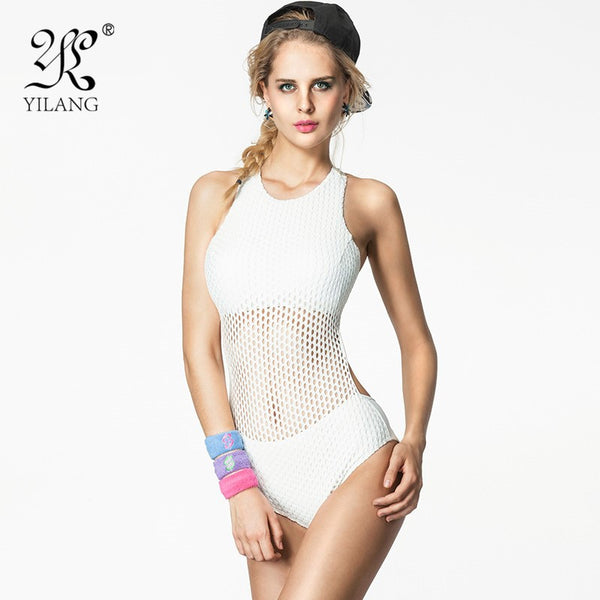 Crochet One Piece Women Swimsuit High Neck Women's Monokini Hollow Out Mesh Sexy Bathing Suits Cover Belly Swimwear - Virtual Store USA