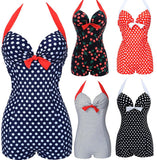 Swimwear Women Vintage Style One piece Dot Print Bow knot Sweetheart Swimsuit St