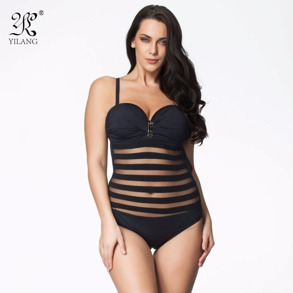 Black Hot Plus Size One Piece Swimwear Fashion See through Swimsuit Bathing Suit Brazilian Sexy Lace Hollow Out Women Monokini - Virtual Store USA