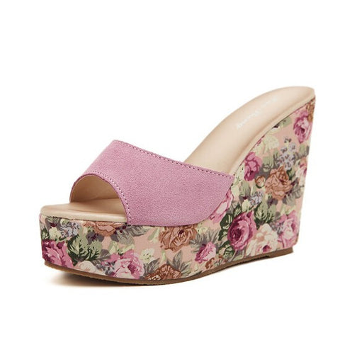Summer Women Sandals Ladies Open Toe High Heel Platform Wedge Sandals Flower Fas