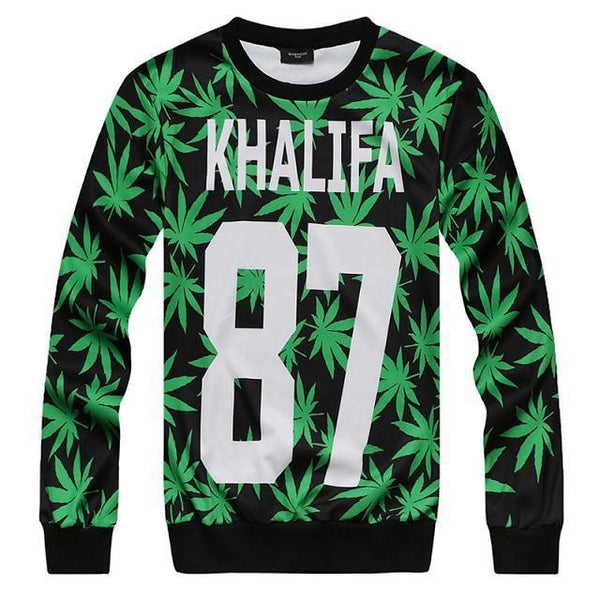 3D sweatshirts for women printed hemp fimble leaf weed 87 sweatshirt fashion casual pullover hoodies tops - Virtual Store USA