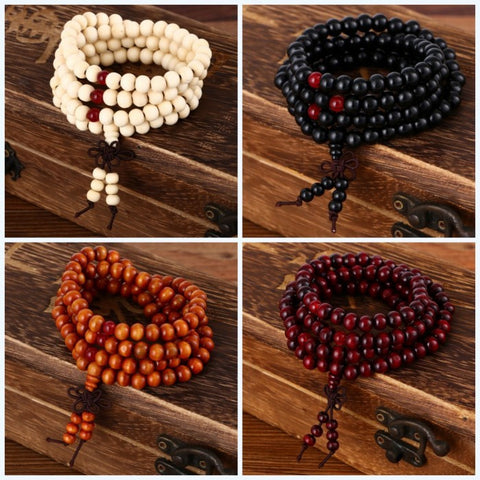 108 beads 8mm Natural Sandalwood Buddhist Buddha Wood Prayer Bead Mala Unisex Men bracelets & bangles jewelry bijoux - Virtual Store USA