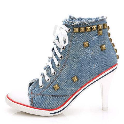 Autumn Canvas Ankle Boots High Heels casual pumps rivets sexy jeans Shoes Women Denim Canvas - Virtual Store USA