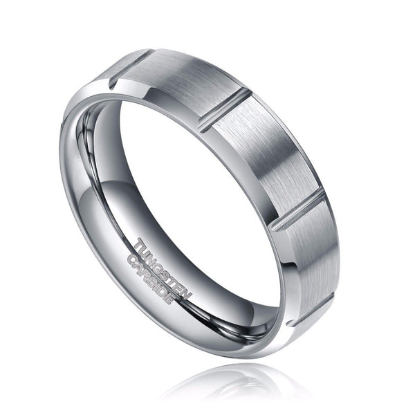 Virtual Store USA 6mm Fashion Jewelry Tungsten Carbide Ring Wedding Band Grooves
