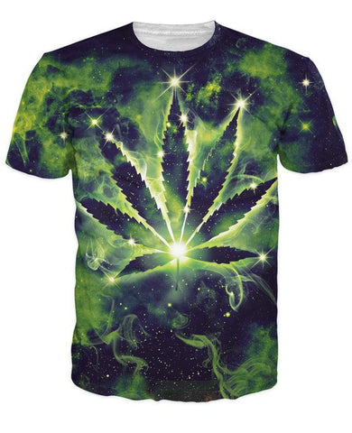 Weed leaf Constellation 3d t shirt Short Sleeve galaxy Man/women Tee Shirt Round