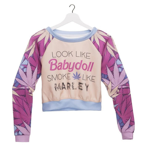 Fashion Women's Clothing Weed Babydoll 3D Printed Hoodies Pullover Crop Top Sexy Nightclubs Party Sweatshirt - Virtual Store USA