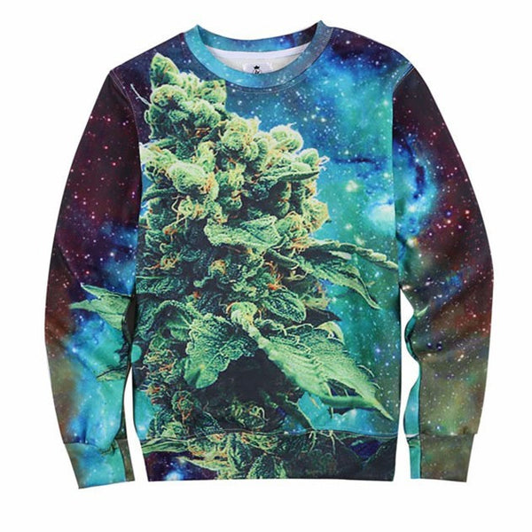 Coral weed print 3D galaxy sweatshirt high street hip hop - Virtual Store USA