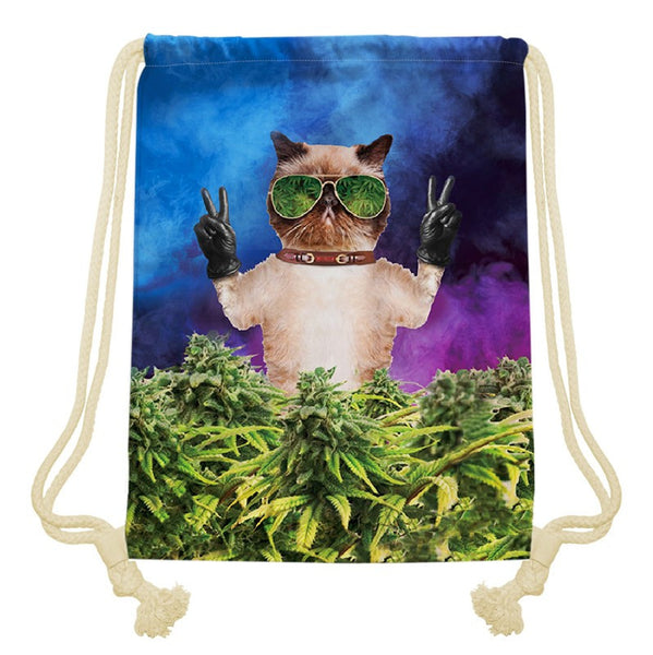Fuuny coral hipster cat 3D printing Women/men Weed Leaf bags Travel mochilas Classic canvas backpack drawstring bag - Virtual Store USA