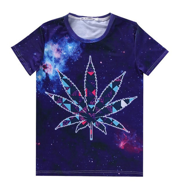 Women Men Weed Leaf Tees 3d galaxy space t shirt summer shirts poleras de mujer camisas Sport tops Jogging