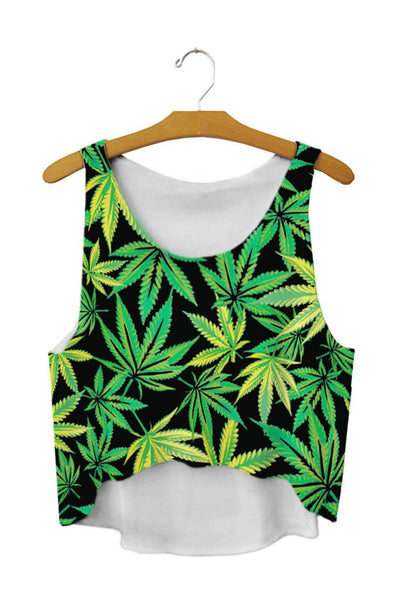 Women T Shirt Hemp leaf tanks Camis crop Tops girl Print T-shirt female weed flo