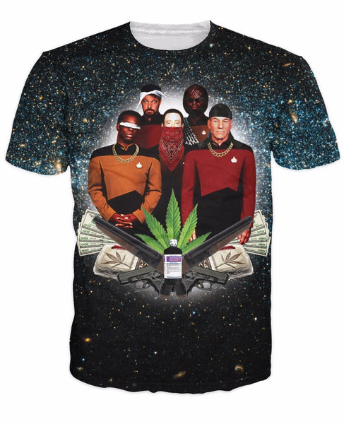 Star Trap T-Shirt Star Trek Weed Leaf Galaxy t shirt summer style tops chemise Casual tees For Unisex Women Men Plus Size