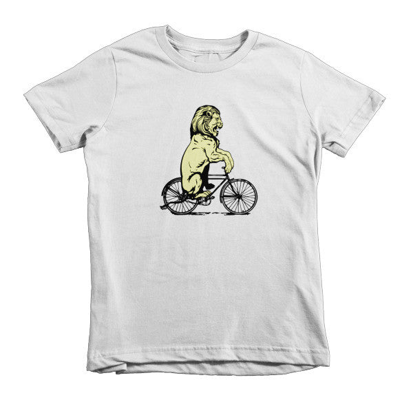Lion Riding on a Bicycle Short sleeve kids t-shirt