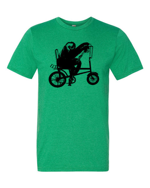 Sloth Riding Bicycle Short sleeve unisex t-shirt
