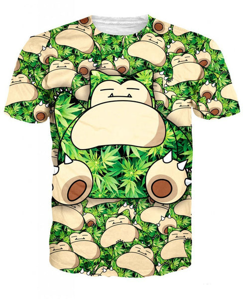 3D Cartoon New Fashion Weed Leaf and Snorlax Pocket Monster T-Shirt Sports Summer Tops Short Sleeve T Shirts For Women and Men - Virtual Store USA