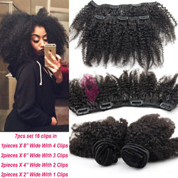 Afro Kinky Clip In Hair Extensions Brazilian Hair - Virtual Store USA