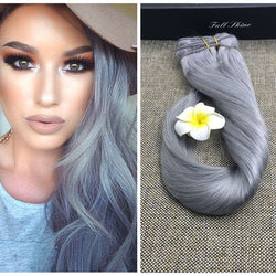 Full Shine Brazilian Natural Hair Silver Gray Clip in Human Hair Extensions