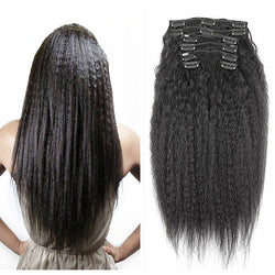 Brazilian Clip in Human Hair Extensions Kinky Straight Clip ins