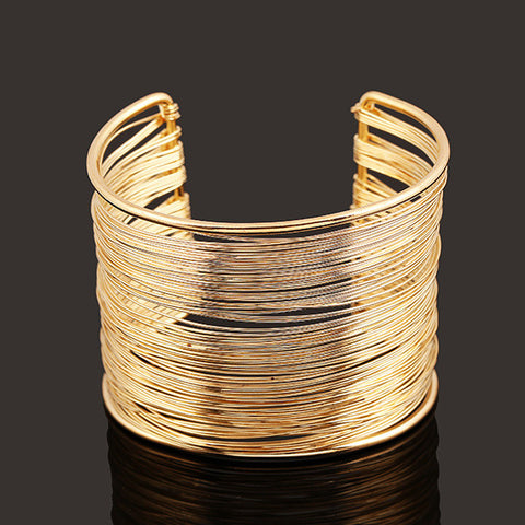 11.11 5.5cm Layered Punk Silver or Gold Wire Opened Wide Cuff Bangle for Woman , Women Fashion Punk Metal Cuff Bracelet Bangle - Virtual Store USA