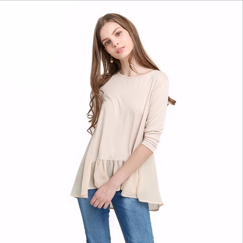 Autumn Fashion Women  Solid White T-shirt Half Sleeve Casual Crew Neck Chiffon Contrast Frill Hem T-shirt