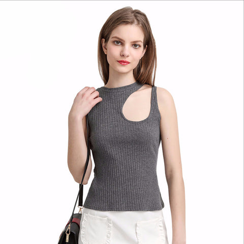 Asymmetrical Hollow Out Sexy Tops Bustier Straps Tank Elegant Slim Party Club Sleeveless 90's Casual Tops