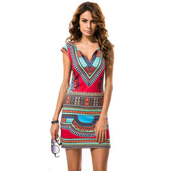 Short V-Neck Sexy African Traditional Print Mini Dress