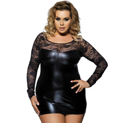 Black Faux Leather Lace Babydoll