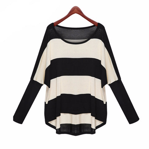 Batwing Sleeve Striped Knitted Pullover Sweater - Virtual Store USA