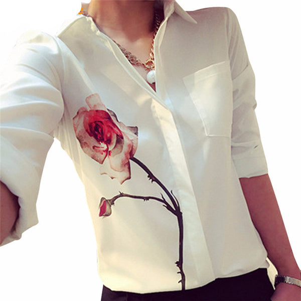 Full Sleeve Rose Flower Printed Blouse