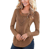 Long Sleeve O Neck Hollow Out Casual Tee Top