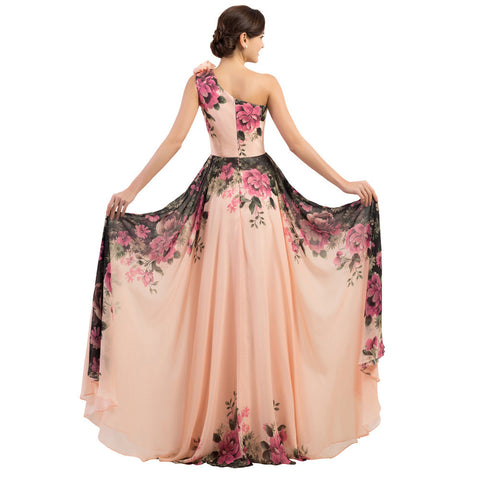 2016 Grace Karin Sexy One Shoulder Long Evening Dress Floral Flower Pattern Long Party Dress Evening Gowns Chiffon CL7504
