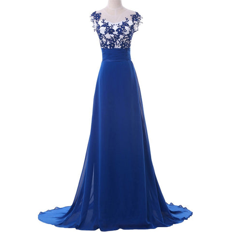 2016 Grace Karin Real Picture Evening Gowns Chiffon Royal Blue Long Evening Dresses Luxury Formal Party Gown CL6147