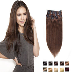 Brown 4# Clip in Human Hair Extensions 70-200g Brazilian Human Hair Clip In