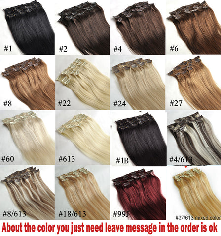 "16"" 18"" 20"" 22"" 24"" 26"" 28"" 7pcs Set 100% Brazilian Remy Hair clip in hair extensions - Virtual Store USA"