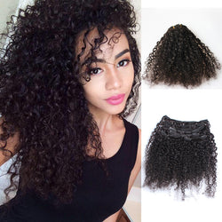African American Clip In Human Hair Extensions Brazilian 3B 3C Kinky Curly - Virtual Store USA