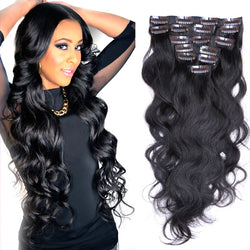 7A Virgin Body Wave Clip In Human Hair Extensions 120g - Virtual Store USA