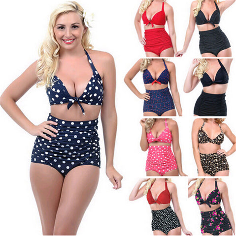2015 Push up High Waist Swimsuit 4XL XXXL XXL big size Women Bathing Suit Padded  Bikini set Retro Beachwear Plus Size Swimwear - Virtual Store USA