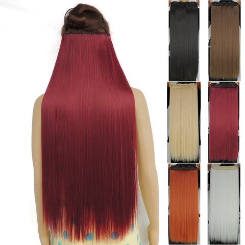 120g 28 inch long clip in hair extensions straight hairpiece synthetic - Virtual Store USA