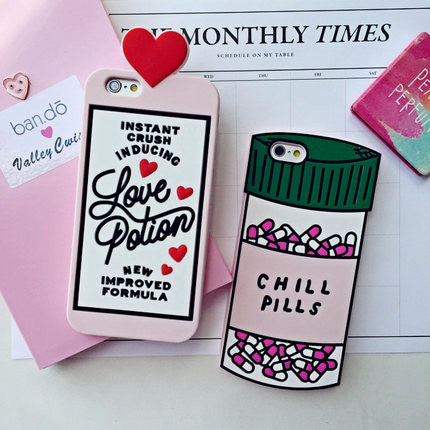 2016 3D Love Potion Chill Pills Bottle Phone Case For iPhone 7 PLUS 5 5s se 6 6S Plus Soft Silicone For NOTE 3 4 5 7 A7 A8 A9 - Virtual Store USA