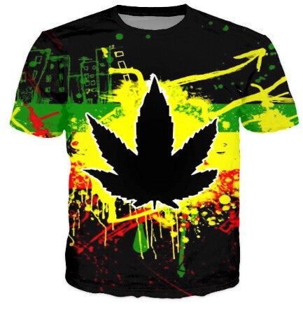 HipHop Men Fashion 3D T-shirts Harajuku Dark Psychedelic WEED LEAF Casual Street T Shirts For Man Male Tshirts - Virtual Store USA