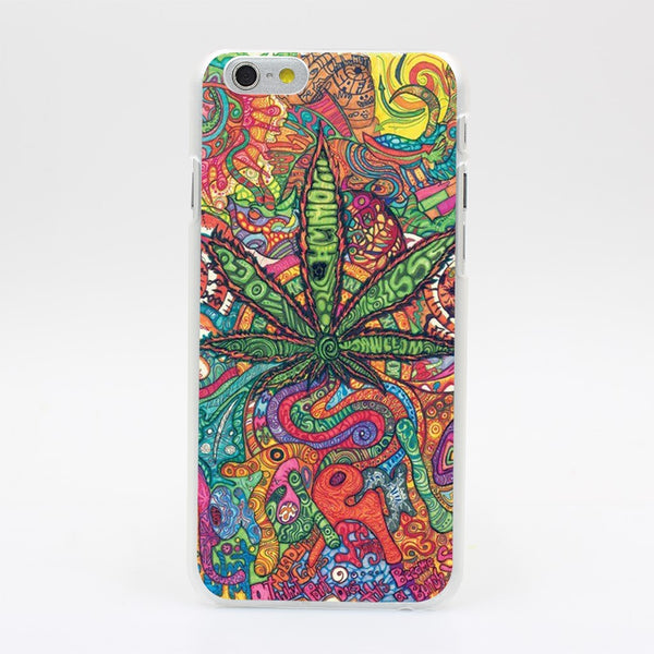 Abstractionism Art high weed tumblr Pattern hard White Skin Case Cover for iPhone 4 4s 4g 5 5s 5c 6 6s 6 Plus - Virtual Store USA