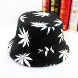 Fashion Hip Hop Green White Leaf Print Fishing Caps Weed Bucket Hats For Mens - Virtual Store USA