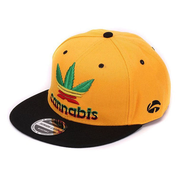 Quality weeds Snapback cap weed leaf flat baseball cap 3D raised embroidery pop hip hop cap and hat for men and women