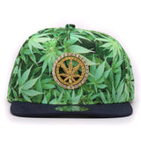 Fancy adult full leaves printing weed hip hop hats metal decoration adult sport flat bill weed snapback caps for men and women - Virtual Store USA