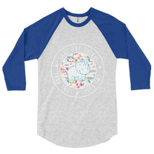 Load image into Gallery viewer, Rainbow Triangles Round Emi 3/4 sleeve raglan shirt
